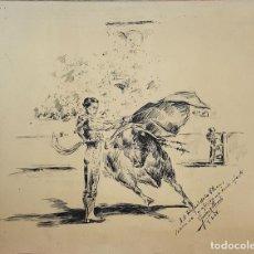 Arte: DI-093. PASE TAURINO. DIBUJO A PLUMILLA. TINTA. FIRMADO JIMENEZ LLORENTE. 1948.. Lote 64012803