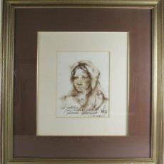 Arte: C4-011-JOSE LUIS FUENTES TAJA. DIBUJO AL CARBON. SITGES 1986. DEDICADO.. Lote 45296871