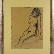 Arte: A2-034 J. MOROS. DIBUJO AL CARBON SOBRE PAPEL. DESNUDO. 1927.. Lote 45310803