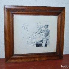 Arte: DIBUJO A TINTA - DOS CABALLEROS - FINALES S.XIX. Lote 64494827