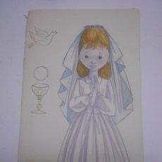 Arte: DIBUJO ORIGINAL NIÑA EN PRIMERA COMUNION FIRMADO POR T. MATEO SOBRE CARTON GRUESO.29X50. Lote 64974975