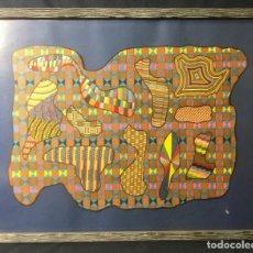 Arte: DIBUJO ABSTRACTO ROTULADOR MULTICOLOR COLORES GEOMETRICO NO FIRMADO AÑOS 60 70 40,5X52CMS. Lote 65656910