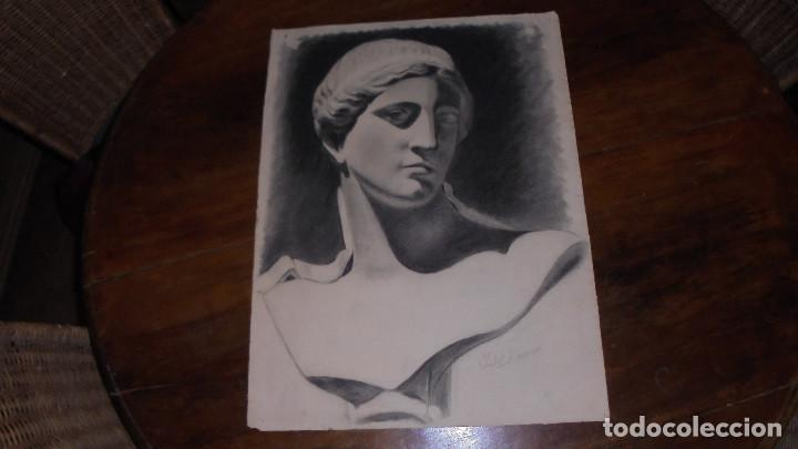 ANTIGUO DIBUJO CARBONCILLO ACADEMICO BUEN TRAZO, HACIA 1930 , MED. 28X63 CM. BORDES ESTROPEADOS, (Arte - Dibujos - Contemporáneos siglo XX)
