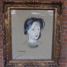 Arte: MARIA BLANCHARD. PASTEL Y CARBONCILLO SOBRE LIENZO. 1930. TETE DE JEUNE FILLE.. Lote 66501010