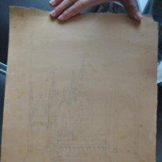 Arte: DIBUJO BOCETO ORIGINAL DE IGLESIA POSIBLEMENTE DE MÁLAGA REALIZADO EN 1960 APROX. . Lote 66652198