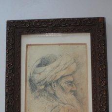 Arte: DIBUJO ORIENTALISTA PRINCIPIOS SIGLO XX RETRATO TURCO FECHADO 1915 FIRMA ILEGIBLE. Lote 66967614