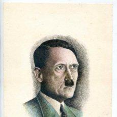 Arte: ADOLF HITLER. DIBUJO A PLUMILLA COLOREADO FIRMADO BUSTELO 1969 17,7X25 CM.. Lote 145183542