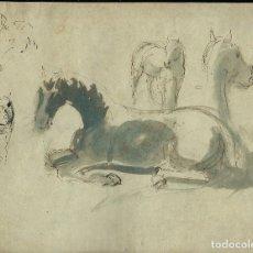 Arte: DIBUJO ORIGINAL, CABALLOS AZULES. ANONIMO.. Lote 67105441