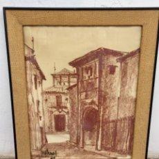 Arte: SANGUINA ENMARCADA PUEBLO CALLE FIRMADA JOSÉ ARNAL 1961 MACARRON MARCO ARPILLERA ORIGINAL 76,5X63,5C. Lote 67113493