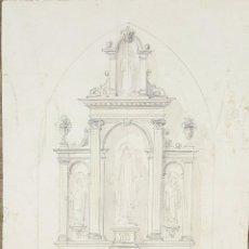 Art: DI-181. BOCETO DE ALTAR. DIBUJO AL CARBON Y ACUARELA. RIUS MASSAGUE. CIRCA 1940.. Lote 67484241