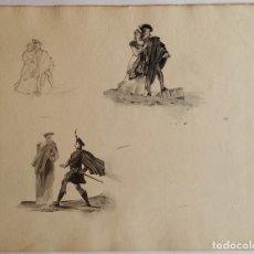 Arte: 3 ESTUDIOS DE GÉNERO, DIBUJOS A LAPIZ Y AGUATINTA / SIGLO XVIII. Lote 67679997