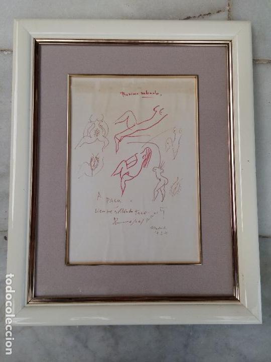 DIBUJO ORIGINAL DEL POETA RAFAEL ALBERTI CON DEDICATORIA (Arte - Dibujos - Contemporáneos siglo XX)
