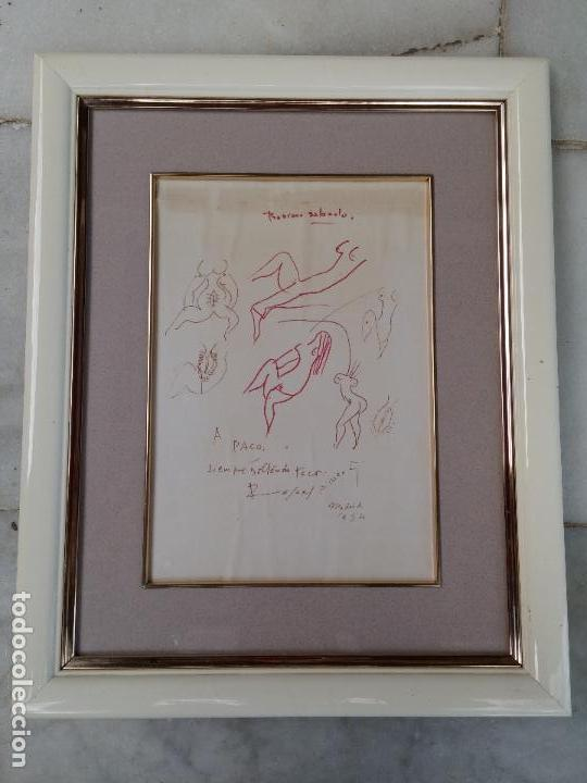 Arte: Dibujo original del poeta Rafael Alberti con dedicatoria - Foto 2 - 67760593