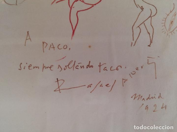 Arte: Dibujo original del poeta Rafael Alberti con dedicatoria - Foto 7 - 67760593