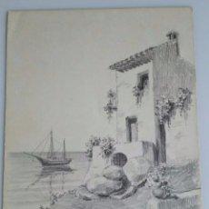 Arte: MAGNIFICO DIBUJO ORIGINAL DE PAISAJE COSTRUMBRISTA - FIRMADO POR EL ARTISTA - 32,5 X 25 CM. Lote 67856713