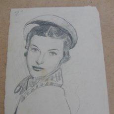 Arte: DIBUJO ANTIGUO REALIZADO A LAPIZ SOBRE PAPEL APROX 1930-40.. Lote 67909485