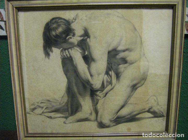 DIBUJO A LÁPIZ Y CARBONCILLO DEL PINTOR ACADÉMICO JULIÁN PAMPLO SIGLO XIX VALENCIA (Arte - Dibujos - Modernos siglo XIX)