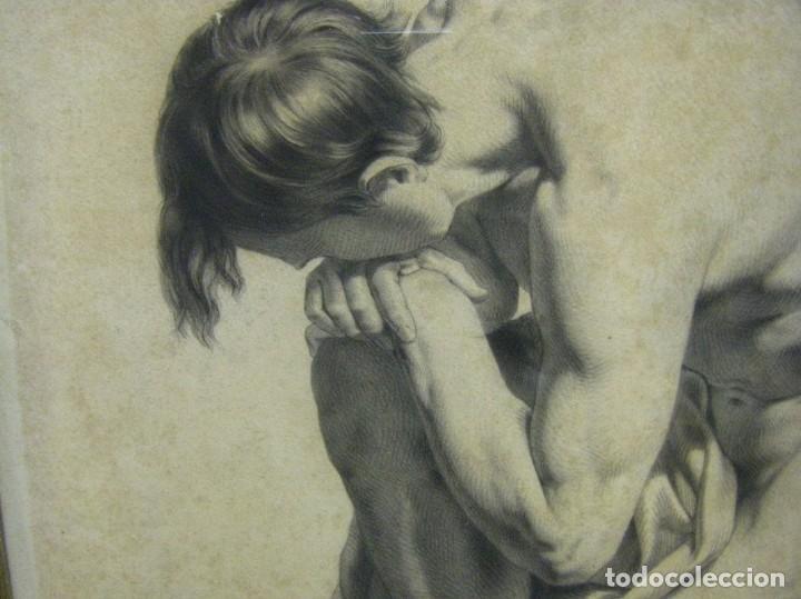 Arte: Dibujo a lápiz y carboncillo del pintor académico Julián Pamplo siglo XIX Valencia - Foto 2 - 68058541