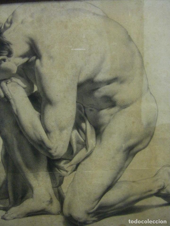 Arte: Dibujo a lápiz y carboncillo del pintor académico Julián Pamplo siglo XIX Valencia - Foto 3 - 68058541