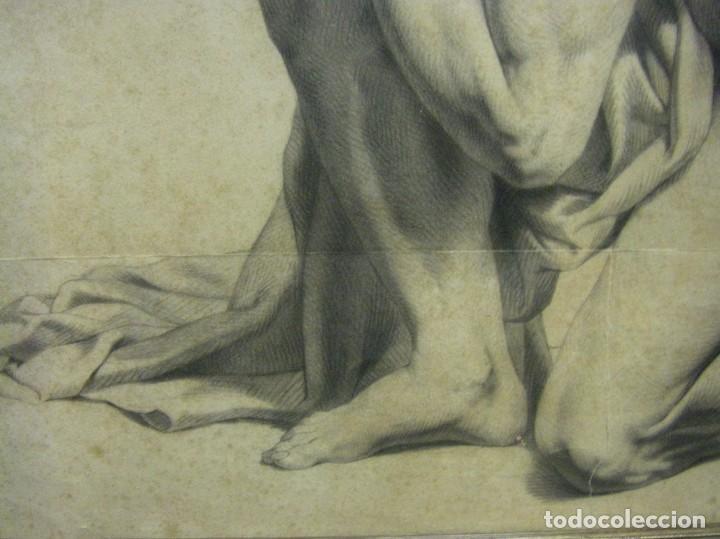 Arte: Dibujo a lápiz y carboncillo del pintor académico Julián Pamplo siglo XIX Valencia - Foto 4 - 68058541