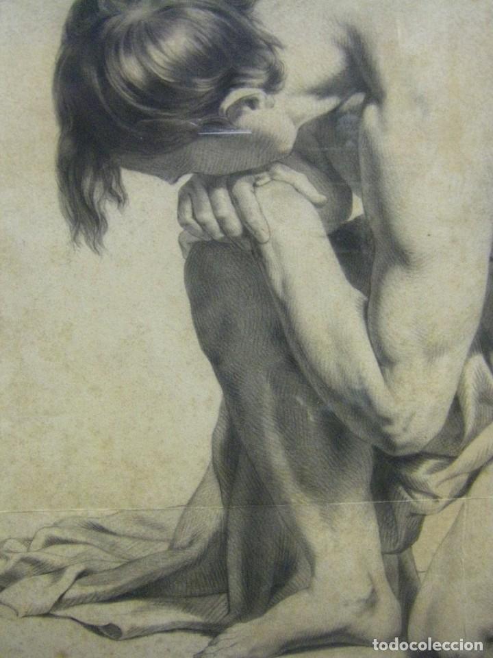 Arte: Dibujo a lápiz y carboncillo del pintor académico Julián Pamplo siglo XIX Valencia - Foto 5 - 68058541
