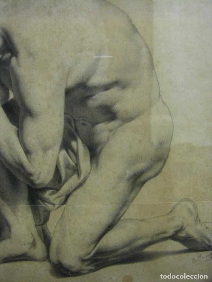Arte: Dibujo a lápiz y carboncillo del pintor académico Julián Pamplo siglo XIX Valencia - Foto 6 - 68058541