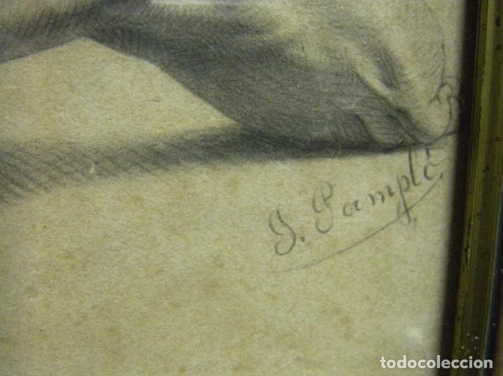Arte: Dibujo a lápiz y carboncillo del pintor académico Julián Pamplo siglo XIX Valencia - Foto 8 - 68058541