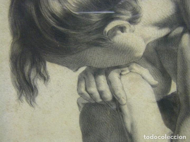 Arte: Dibujo a lápiz y carboncillo del pintor académico Julián Pamplo siglo XIX Valencia - Foto 11 - 68058541