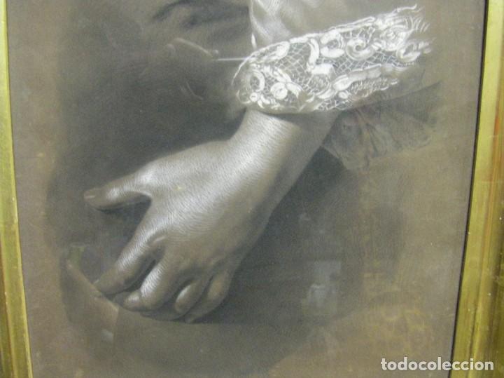 Arte: Dibujo a lápiz y carboncillo del pintor académico Julián Pamplo siglo XIX Valencia - Foto 2 - 68060581