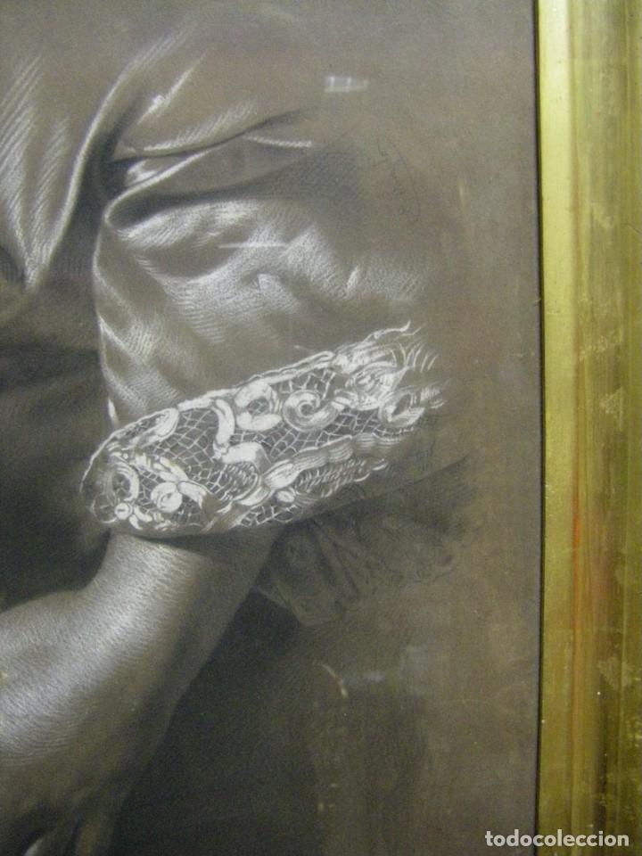 Arte: Dibujo a lápiz y carboncillo del pintor académico Julián Pamplo siglo XIX Valencia - Foto 3 - 68060581