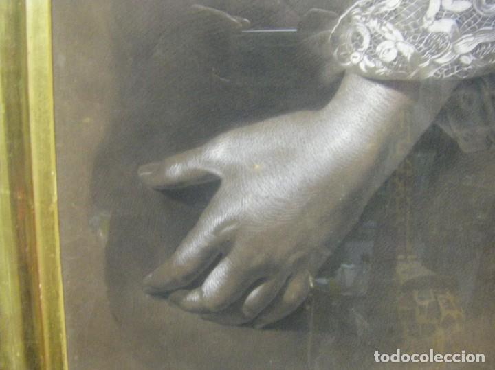 Arte: Dibujo a lápiz y carboncillo del pintor académico Julián Pamplo siglo XIX Valencia - Foto 4 - 68060581