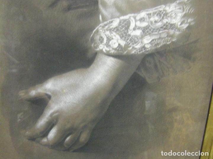 Arte: Dibujo a lápiz y carboncillo del pintor académico Julián Pamplo siglo XIX Valencia - Foto 5 - 68060581
