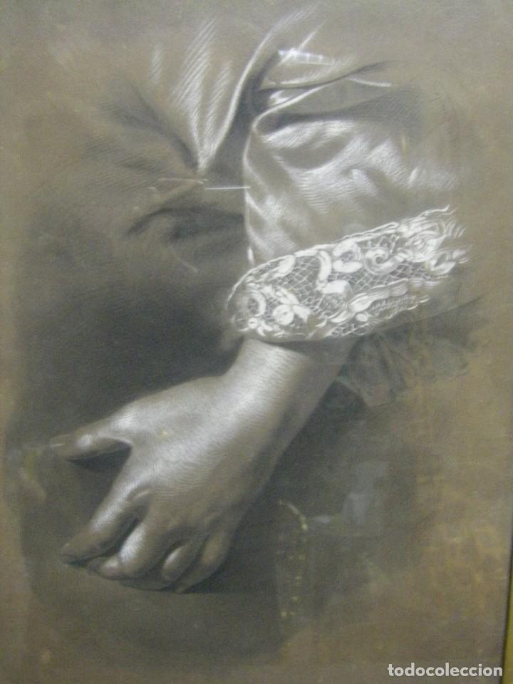 Arte: Dibujo a lápiz y carboncillo del pintor académico Julián Pamplo siglo XIX Valencia - Foto 6 - 68060581