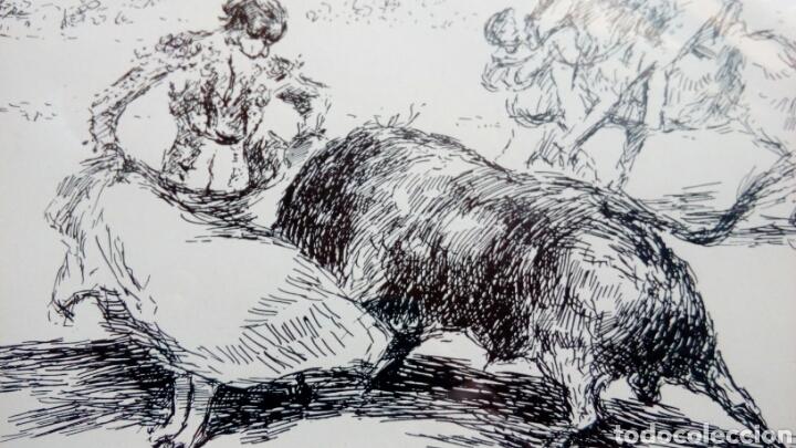 Arte: Pase de toreo, plumilla original de ANTONIO CASERO 17x34 - Foto 4 - 68894042
