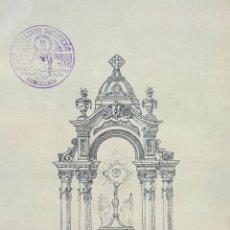 Arte: BOCETO DE ALTAR. DUBUJO A TINTA SOBRE PAPEL. RIUS MASSAGUE. CIRCA 1940. . Lote 69503193