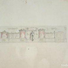 Arte: BOCETO DE BIBLIOTECA. DIBUJO AL CARBON Y ACUARELA. RIUS MASSAGUE. CIRCA 1940. . Lote 69503965