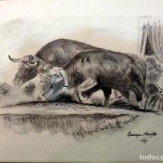 Arte: ENRIQUE MORALES. BUEYES TIRANDO DE UNA CARRETA DEL ROCIO. Lote 69515669