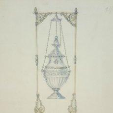 Arte: BOCETO DE INCENSARIO. DIBUJO AL CARBON Y ACUARELA. RIUS MASSAGUE. CIRCA 1940. . Lote 69594613