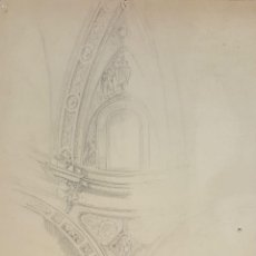 Arte: BOCETO DE BOVEDA. DIBUJO AL CARBON. RIUS MASSAGUE. CIRCA 1940.. Lote 69595597