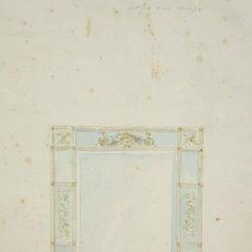 Arte - PROYECTO DE MARCO PARA ESPEJO. DUBUJO AL CARBON Y ACUARELA. RIUS MASSAGUE. CIRCA 1940. - 69811821
