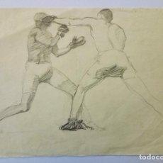 Arte: RETRATO DE DOS BOXEADORES, FINALES DEL SIGLO XIX, APUNTE ORIGINAL A LAPIZ. Lote 69827841