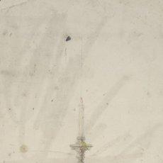 Arte: BOCETO DE CANDELABRO. DIBUJO AL CARBON Y ACUARELA. RIUS MASSAGUE. CIRCA 1940.. Lote 69851245