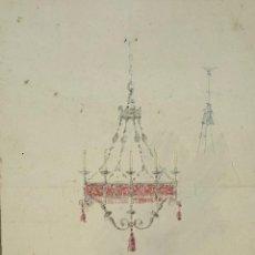 Arte: BOCETO DE LAMPARA. DIBUJO AL CARBON Y ACUARELA. RIUS MASSAGUE. CIRCA 1940. . Lote 69908249