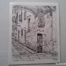 Arte: TARRAGONA - CALLE SANTA TECLA - DIBUJO A LA PLUMA DEL AUTOR JOAN SANS MALLAFRE - VER FOTO. Lote 70395977