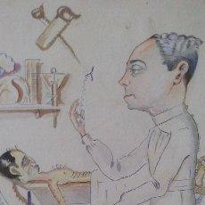 Arte: DIBUJO CARICATURA MEDICINA MEDICO ENFERMO, FIRMA BAS FERRER 1936. Lote 70469205