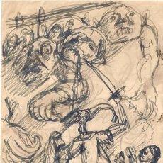 Arte: DIBUJO A PLUMILLA POR EL GRABADOR ARAGONÉS MANUEL LAHOZ VALLE.DON QUIJOTE,SANCHO Y LOS GIGANTES.. Lote 71142569