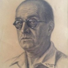 Arte: RAMON TERMENS MAURI DIBUJO CARBÓN Y CLARION SOBRE PAPEL 32 X 36 CMS. Lote 71477647