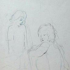 Arte: JOSEP MOMPOU DENCAUSSE - DIBUJO A LÁPIZ SOBRE PAPEL FIRMADO, FECHADO Y ENMARCADO. Lote 71959827