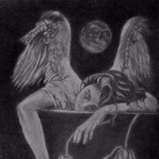 Arte: ANGEL CAIDO, GRAFITO LAPICES DE M.D. CARVAJAL. Lote 72821495
