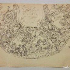 Arte: EXCELENTE DIBUJO ORIGINAL A TINTA, SIGLO XIX, CLASICISMO, FRESCO, ESCUELA FRANCESA, CALIDAD. Lote 72984879